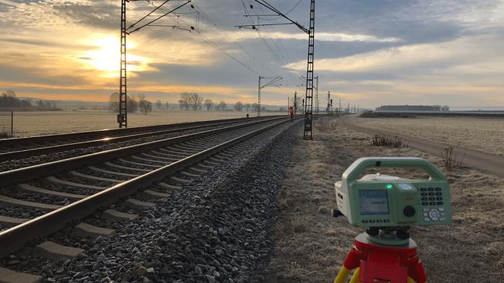 Vermessung bei Erneuerung der Infrastruktur der Deutschen Bahn und Verdichtung des Festpunktefeldes